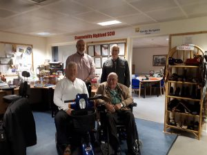 Strokeness would like to thank ShopMobility Highland(Paul Wiliamson,Norman Macleod(Alan Reeks Strokeness) Lachie Smith) For the Two Scooters they donated to our members
